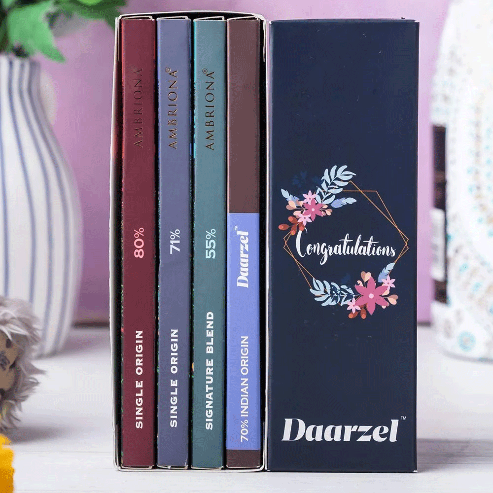 Congratulations Gift Pack of 4 Single Origin Dark Chocolates
