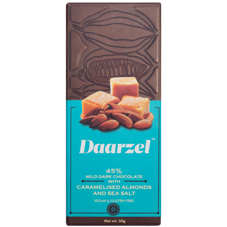 Daarzel 45% Mild Dark Chocolate with Caramelised Almonds with Sea Salt | Vegan & Gluten Free | 50 g