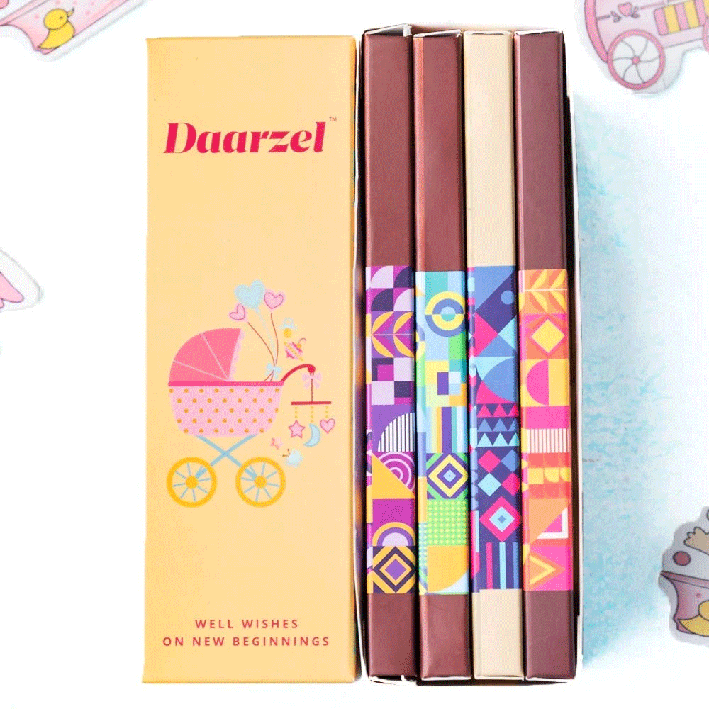 Daarzel Treats - Baby Shower | Baby announcement  | GIFT Pack of 4 Chocolate Bars | 200 g
