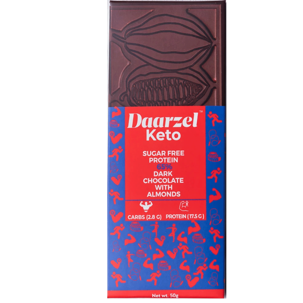 Daarzel Keto - 65% Sugarfree Dark Chocolate with Almonds | Low Carbs | High Protein | Natural | 50 g