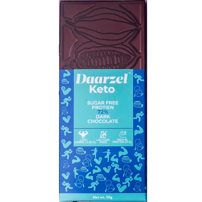 Daarzel Keto - 72% Sugar Free Dark Chocolate  | Lactose Free | Low Carbs | High in Protein | Sweetened with Stevia | Maltitol Free |50g