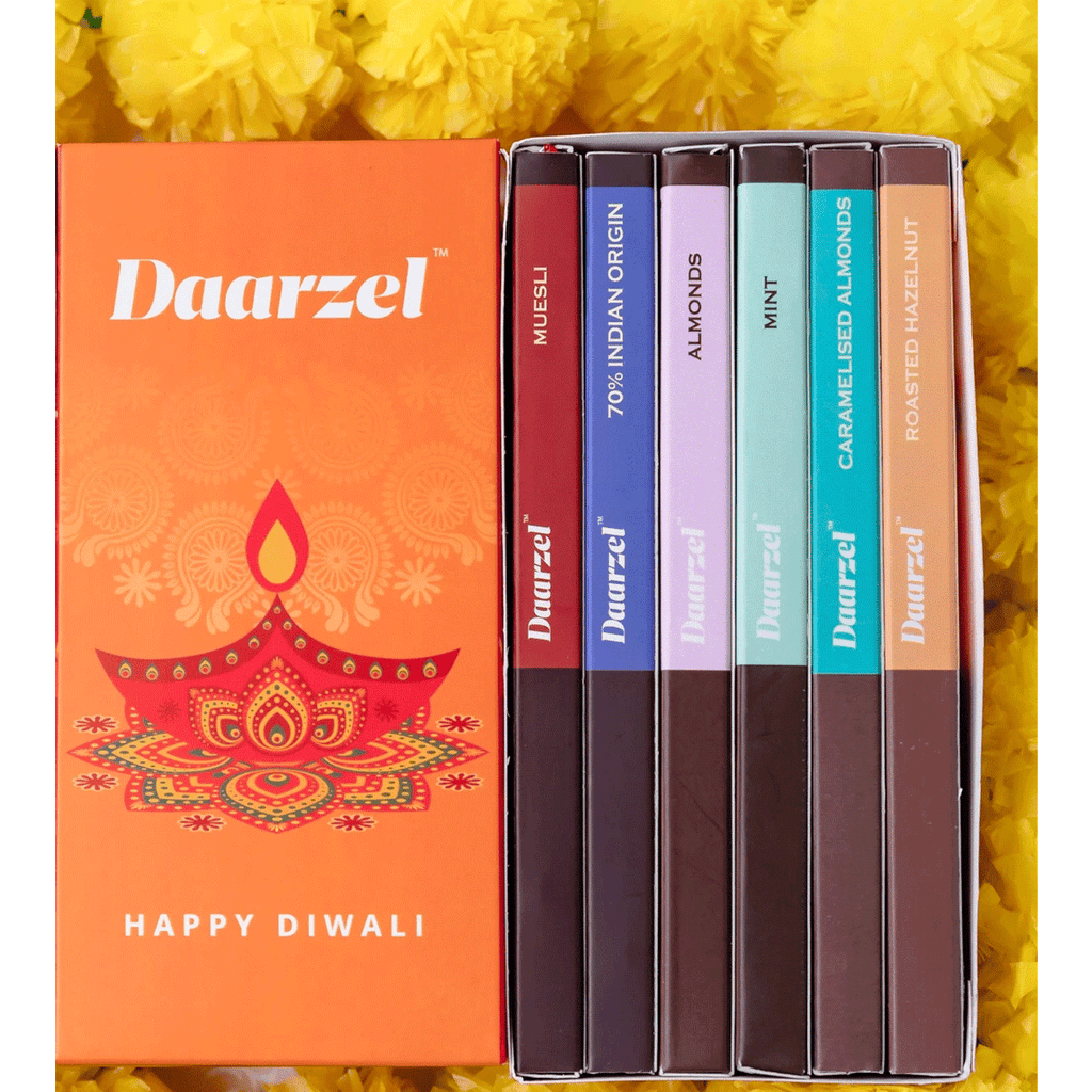 Daarzel - Diwali Combo Box of 6 45% - 70% Dark Chocolate | Hazelnut, Caramelized Almond, Muesli, Mint, Indian Origin, Dark Almonds |  Gift for Diwali