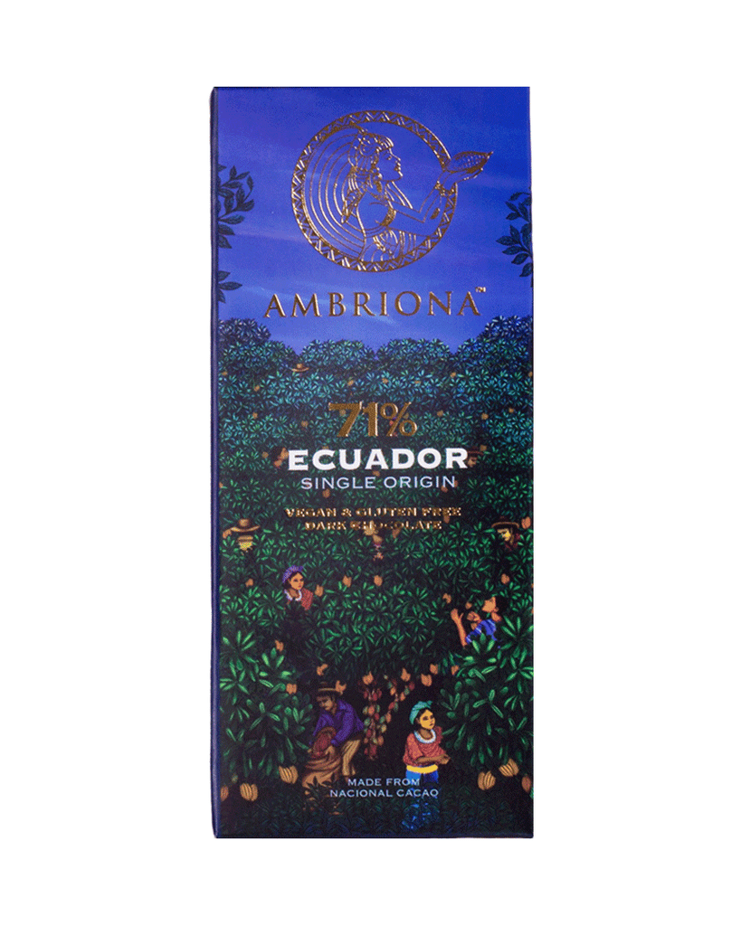 Ambriona - 71% Single Origin Intense Dark Chocolate from Ecuador | Vegan & Gluten Free | 50 g