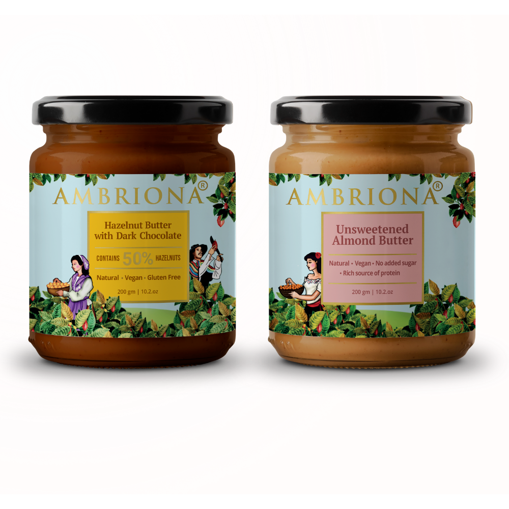 Combo of Hazelnut Butter with Dark Chocolate and Classic Unsweetened Almond Butter ( Creamy)  Vegan | Gluten Free | All Natural | Unsweetened | Vegan |  High Protein |  400 g