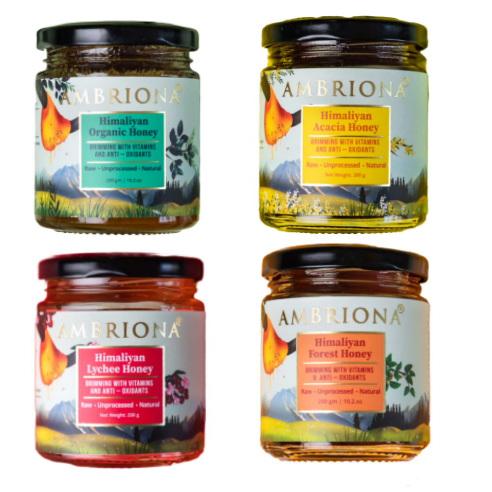 Combo of Honey | Set Of 4 | Acacia Honey | Lychee Honey | Forest Honey | Organic Honey | RAW | UNPROCESSED | Natural | 800 g