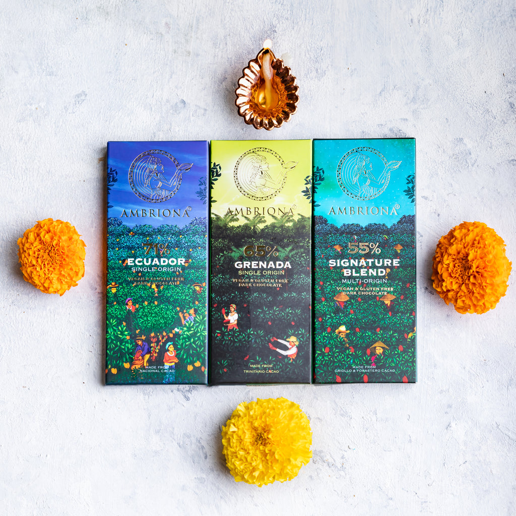 Ambriona Dark Chocolate pack of 3 Single & Multi Origin 55 - 71% Dark Chocolates along with free Diya | Vegan | Gluten Free