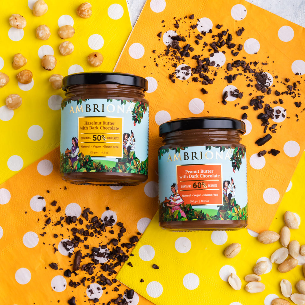 Combo of Dark Chocolate Nut Butters | Hazelnut Butter with Chocolate , Almond Butter with Chocolate , Peanut Butter with Chocolate | No Palm Oil |  Vegan | Gluten Free | All Natural |  Vegan | High Protein| 600 g