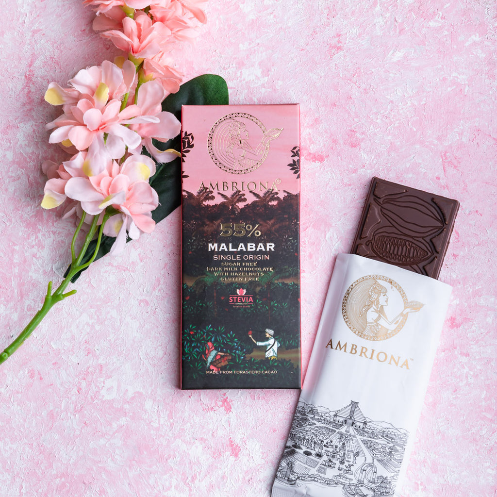 Ambriona - 55% Malabar Single Origin | Sugar Free | Dark Milk Chocolate with Hazelnut  |  Gluten Free | 50 g