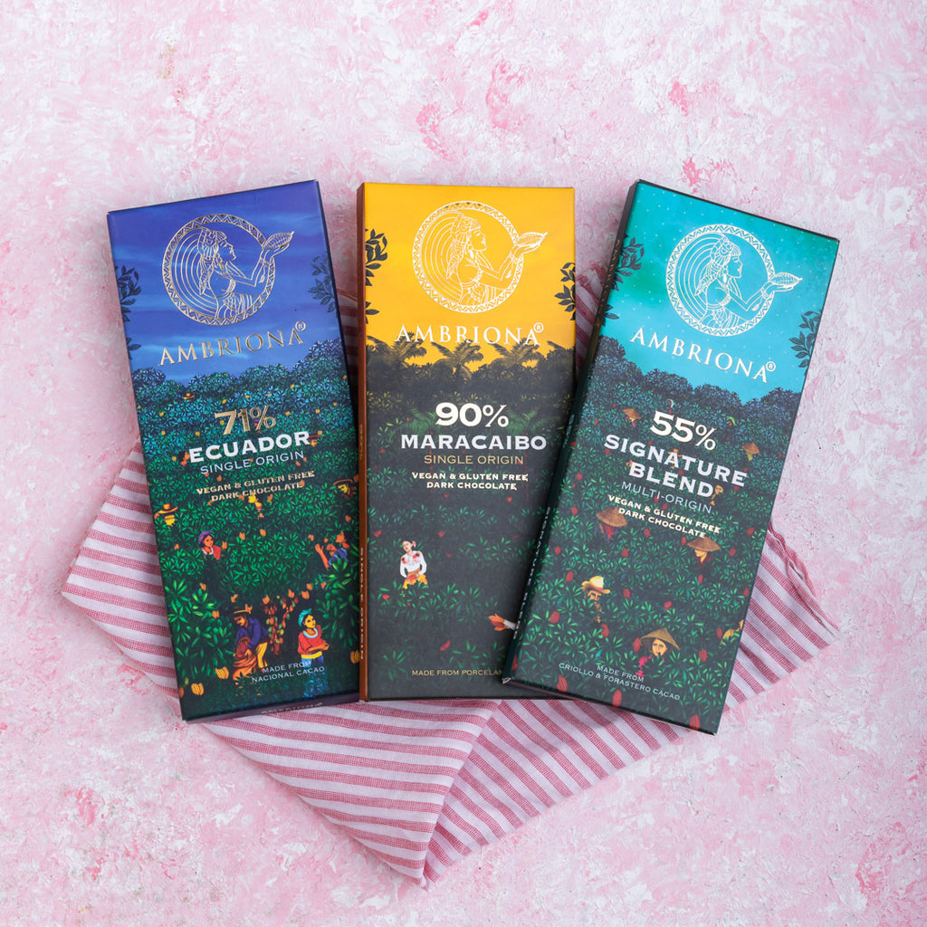 Ambriona Dark Chocolate set of 3 Single Origin 55 - 90% Dark Chocolates | Vegan | Gluten Free
