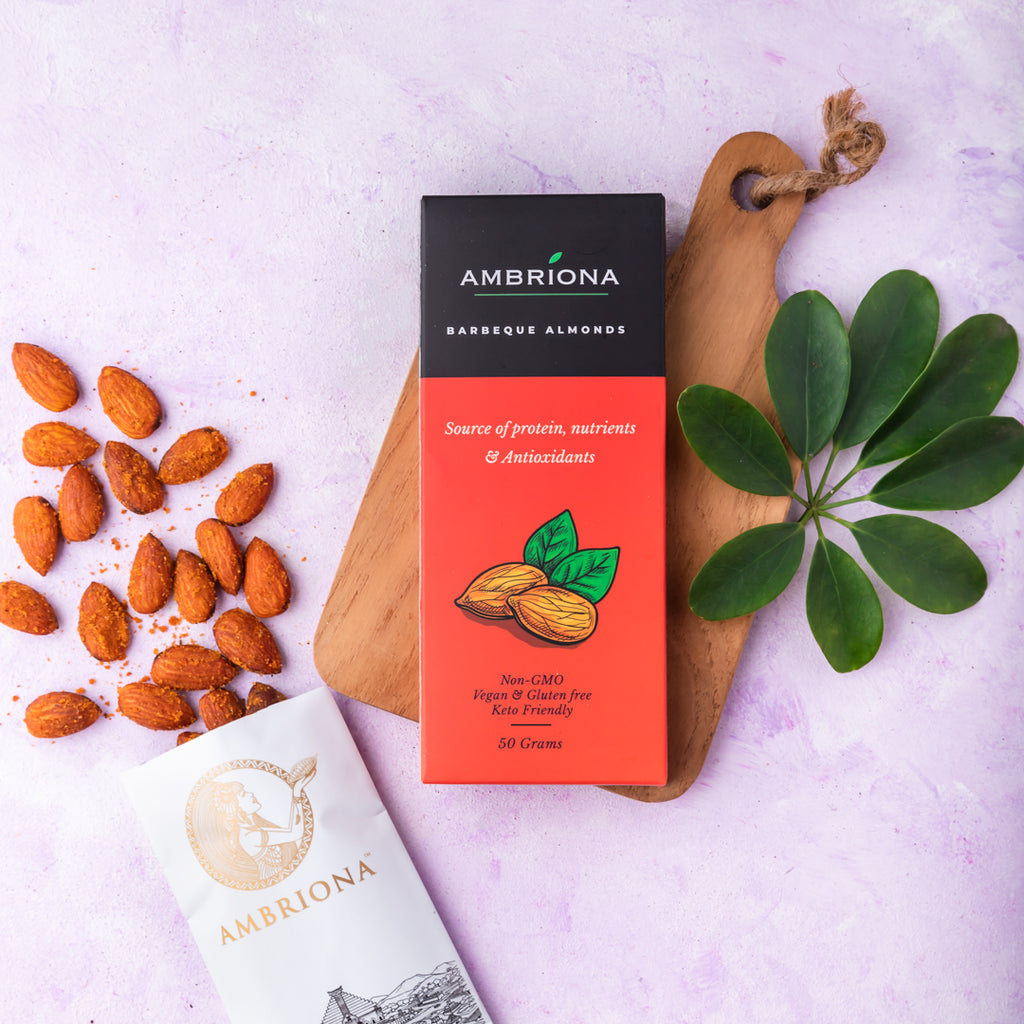 Ambriona Barbeque Almonds : All Natural , Source of Protein , Nutrients & Antioxidants . NON GMO, VEGAN , GLUTEN FREE & KETO FRIENDLY | 50 g