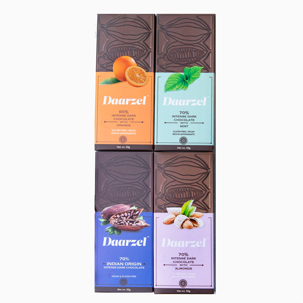 Daarzel -  65% - 70% Intense Dark Chocolate Pack of 4 ( Mint, Orange, Almond, Indian Origin) | Vegan | Gluten Free | 200 g