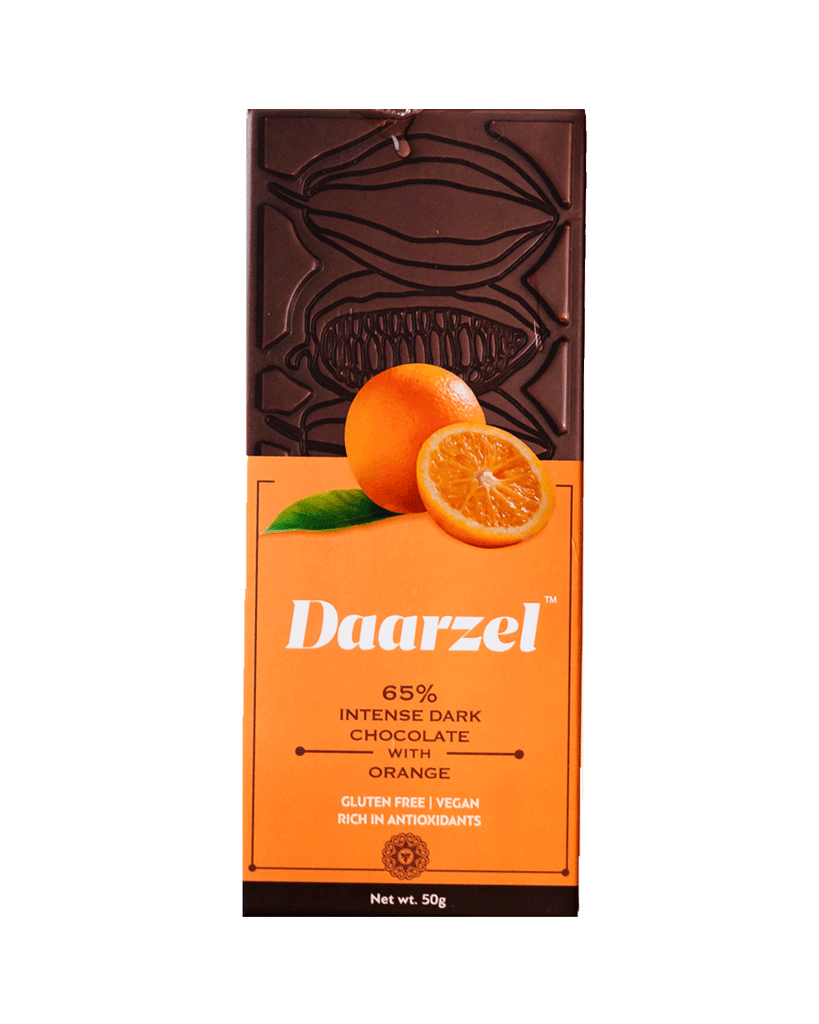 Daarzel -  65% Dark Chocolate Bar with Orange | Vegan & Gluten Free | 50 g