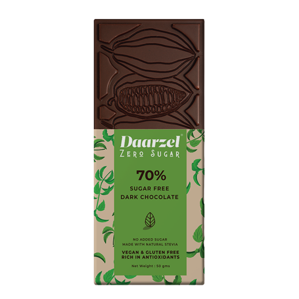 Ambriona Daarzel Zero Sugar - 70% Sugar Free Dark Chocolate | Vegan & Gluten Free | No Added Sugar | Made with Stevia