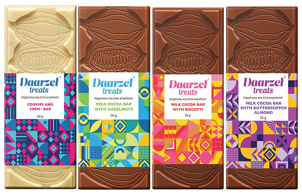 Daarzel Treats Milk Chocolate Combo Box of Cookies and Cream, Biscotti, Butterscotch Almonds and Hazelnut ( Buy 3 Get 1 Free )- Pack of 4