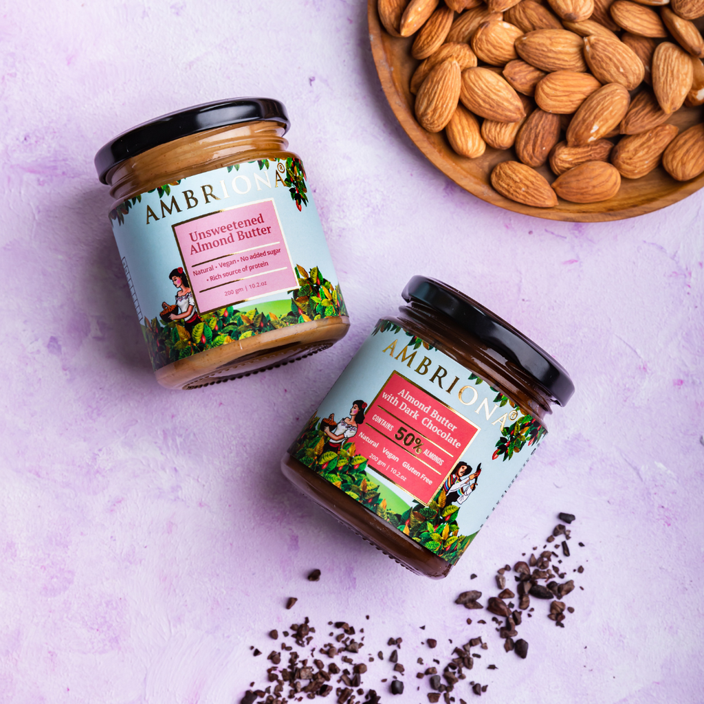 Pack of Almond Butters | Almond Butter Unsweetened | Almond Butter with Dark Chocolate | No palm oil | 400 g