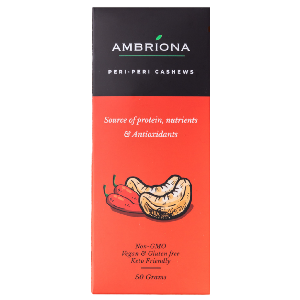 Ambriona - Cashews with Peri peri  : All Natural , Source of Protein , Nutrients & Antioxidants . NON GMO, VEGAN , GLUTEN FREE & KETO FRIENDLY | 50 g