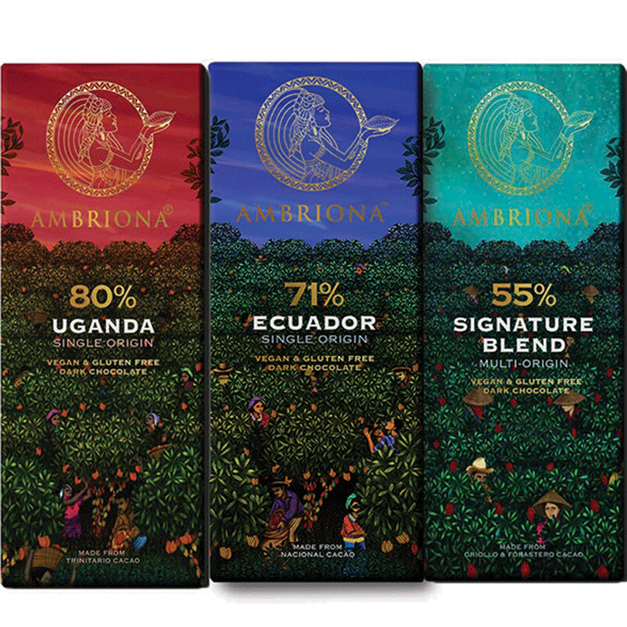 Ambriona Dark Chocolate set of 3 Single Origin 55- 80% Dark Chocolates | Vegan | Gluten Free