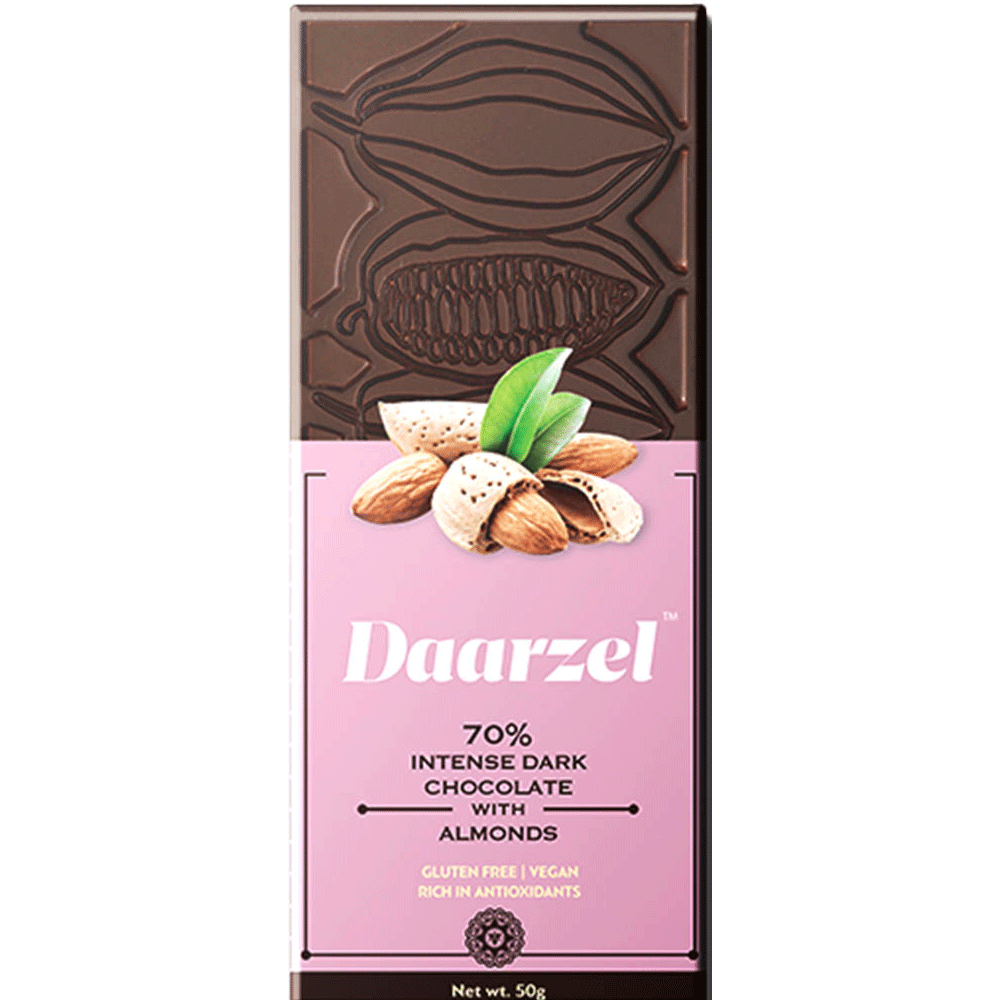Daarzel - 70% Intense Dark Chocolate with Almonds | Vegan and Gluten-Free | 50 g