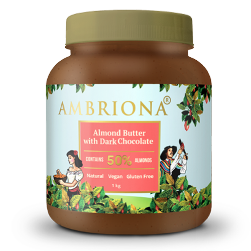 Ambriona - Almond Butter With Dark Chocolate | Contains 50% Almonds| Vegan | Gluten Free | Vegan | All Natural | High Protein | 1 Kg