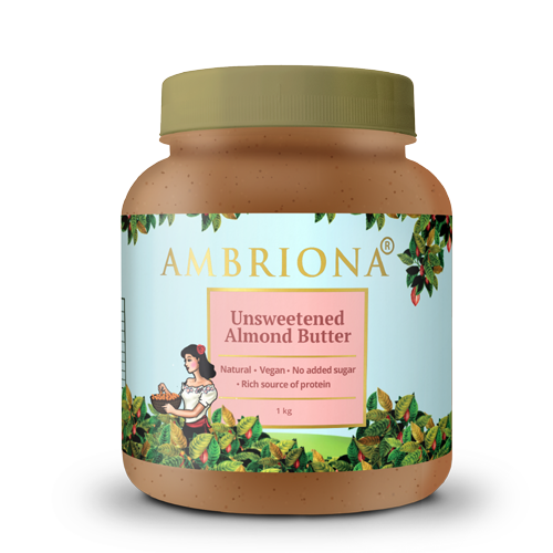 Ambriona - Almond Butter with Sea Salt (Creamy) | Keto Friendly | Vegan | Gluten Free | All Natural | Unsweetened | No Added Sugar| Vegan | Keto | High Protein| 1Kg