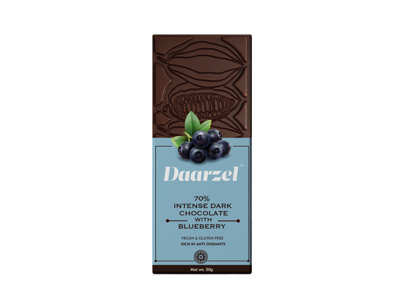Daarzel -  70% Intense Dark Chocolate with Blueberry | Vegan & Gluten Free | 50 g