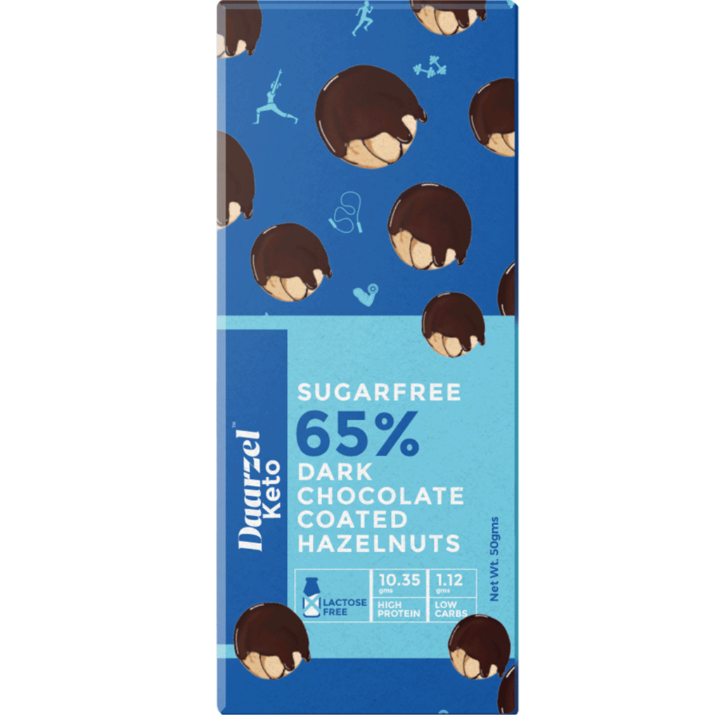 Daarzel Keto - 65% Sugar Free Dark Chocolate Coated Hazelnut | High Protein | Low Carbs | 50g