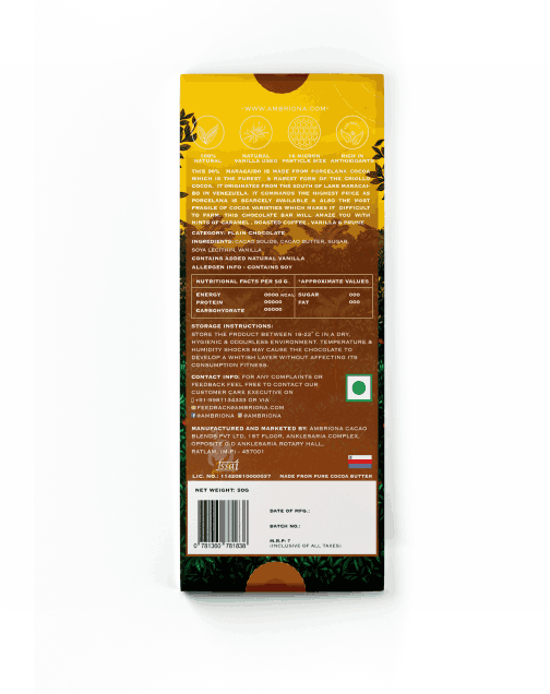 Ambriona - 90% Maracaibo Single Origin | Vegan & Gluten Free | Dark Chocolate | 50 g