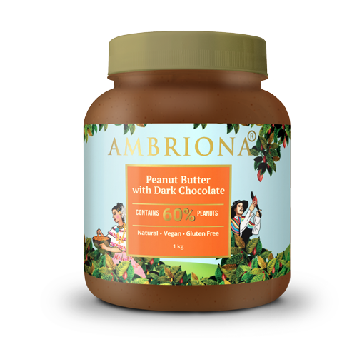 Peanut Butter With Dark Chocolate | Contains 60% Peanuts | Vegan | Gluten Free | Natural | 1kg
