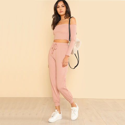 2 Piece Set Shoulder Crop Bardot Top and Drawstring Pants