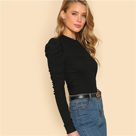 Womens Slim Fit Puff Sleeve