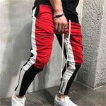 Mens Patchwork Red Joggers