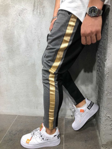 Gray/Black & Gold Track Pants