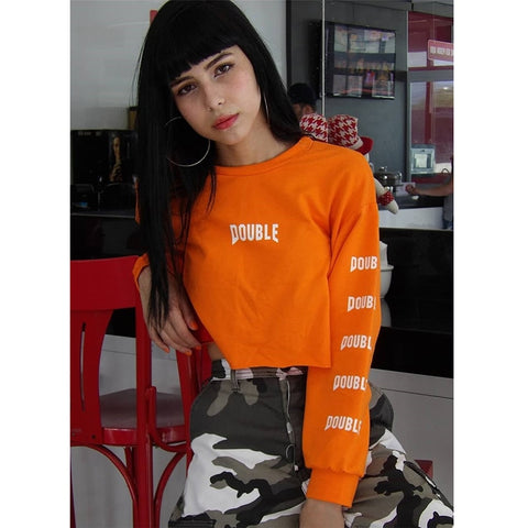 Orange Double Print Crop Top