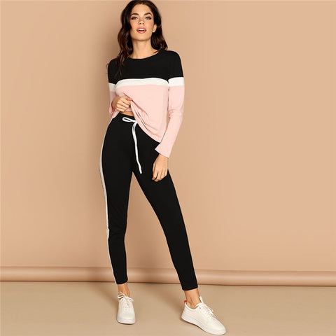 2Pc Tri-Color Long Sleeve T-Shirt & Black Striped Pants