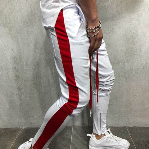 White & Red Track pants