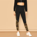 Black With Camouflage Leggings