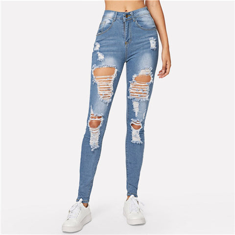 Blue Ripped Bleach Skinny Jeans