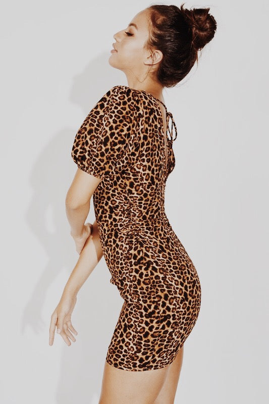 Leopard Ruched Waist Dress