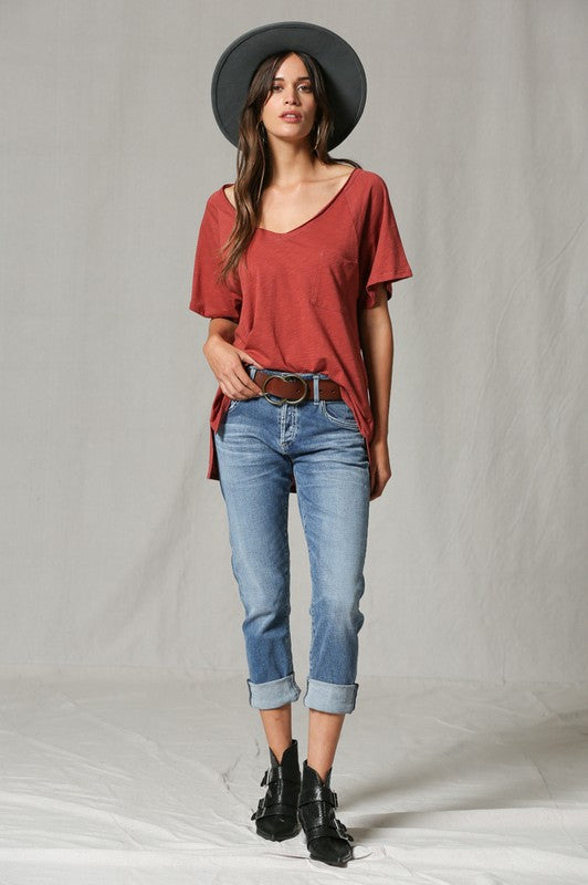 V Neck Front Pocket T-Shirt