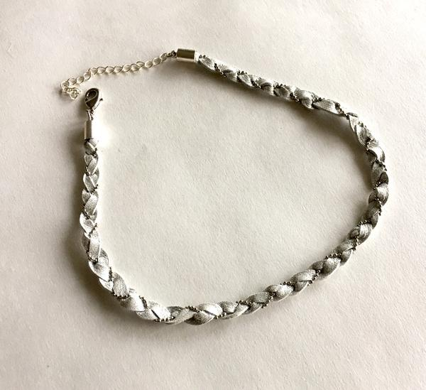 Silver Leather Braided Choker