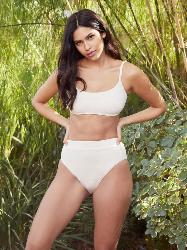 Seamed Bralette Top White Sand - Swimwear