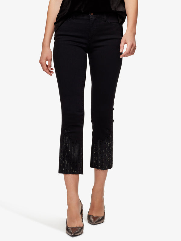 Connector Kick Crop Rhinestone Droplette Jeans Raven