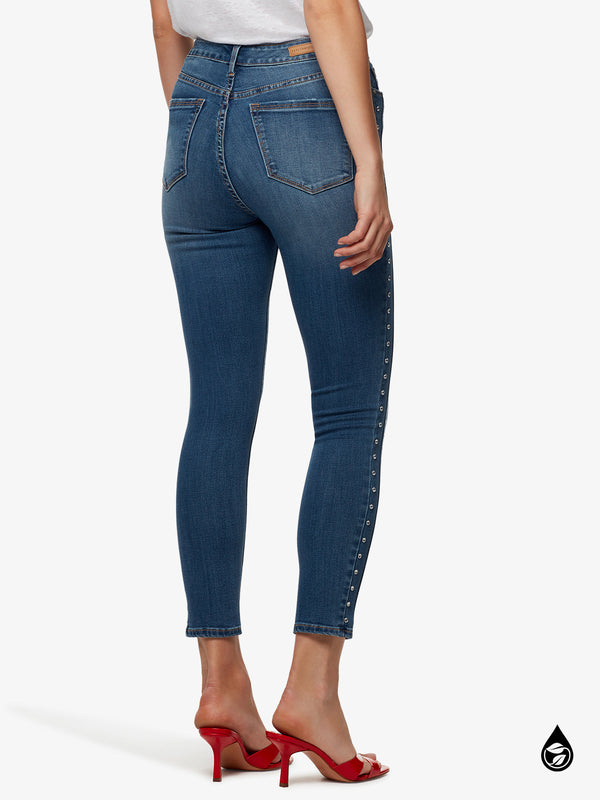 Social Standard High Rise Skinny Ankle With Gem Stud Side Details Jeans Songbird