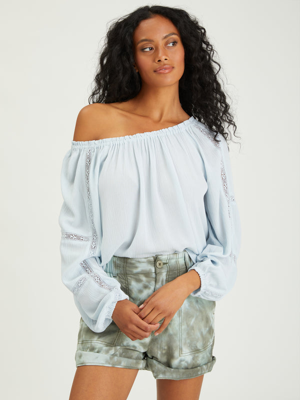Say So Blouse Sky Blue - Woven Top