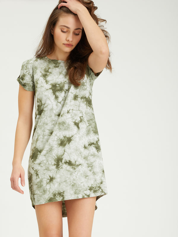 So Twisted T-Shirt Dress Organic Green / White Tie Dye -