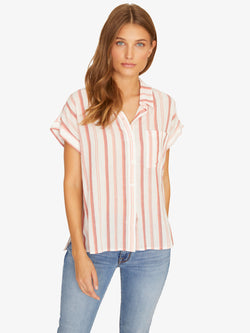Mod Short Sleeve Boyfriend Shirt Painted Pottery Stripe