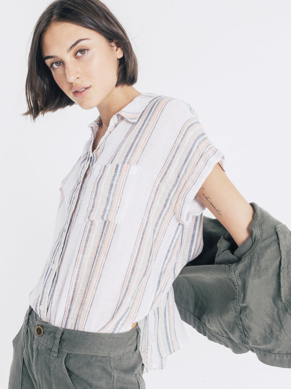 Mod Short Sleeve Boyfriend Shirt Laurel Canyon Multistripe