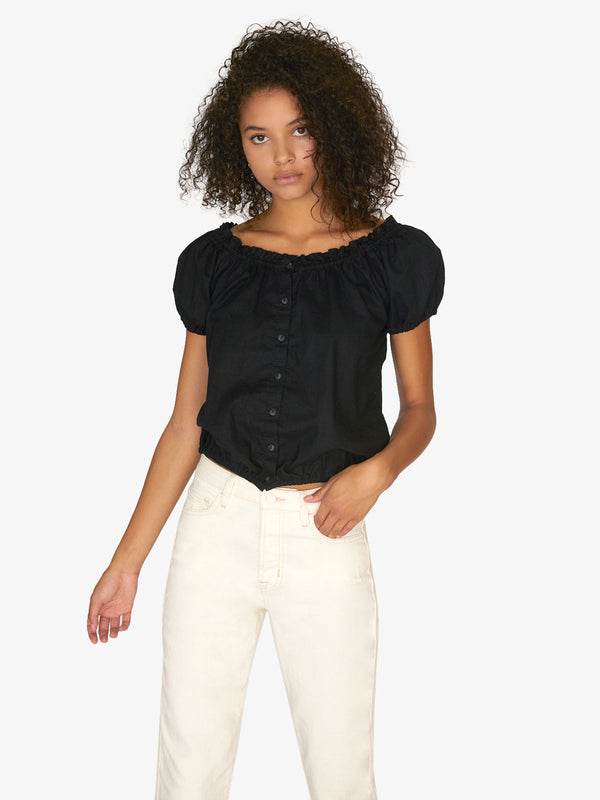 Sunkissed Shoulder Skimmer Top Black