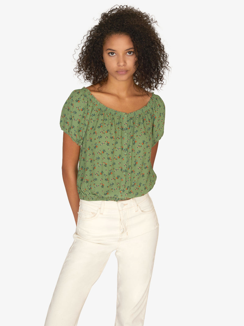 Peasant Girl Summer Top Go Green