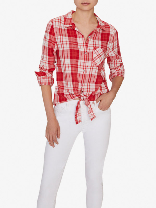 Hayley Tie Front Shirt Pop Of Love Plaid
